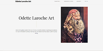 A screenshot of the homepage of Odette Laroche's website.