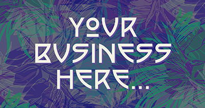 A colourful graphic containing the words 'Your Business Here' in large text.